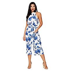 Quiz - Blue and white floral print jumpsuit