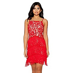 Quiz - Red lace fringe bodycon dress