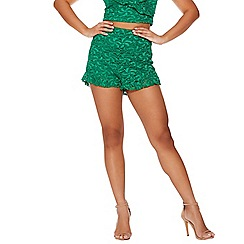 Quiz - Green lace frill high waist shorts