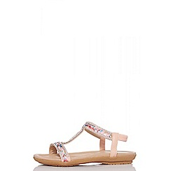 Quiz - Pink embellished flat sandals