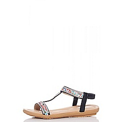 Quiz - Black embellished flat sandals