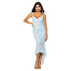 Quiz - Blue glitter lace wrap dip hem dress