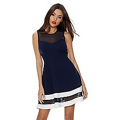 Quiz - Navy mesh skater dress