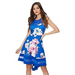 Quiz - Royal blue floral mesh dip hem dress
