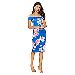 Quiz - Royal blue floral print bardot midi dress