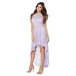 Quiz - Lilac glitter lace dip hem dress