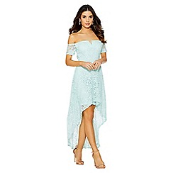 Quiz - Mint glitter lace v bar bardot dip hem dress