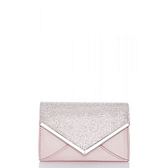 Quiz - Pink satin diamante bag