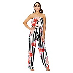 Quiz - Cream and black floral stripe jumpsuit