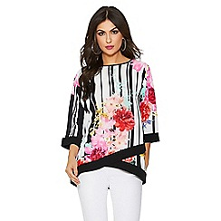 Quiz - Cream and black floral stripe 3/4 sleeve top