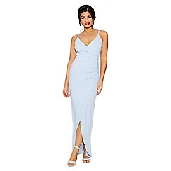 Quiz - Light blue  strap wrap front maxi dress