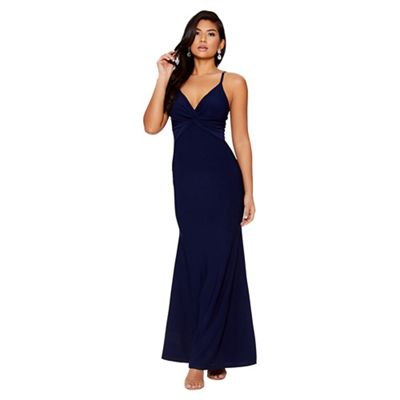 Quiz   Navy Knot Front Fishtail Maxi Dress by Quiz