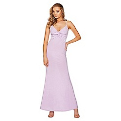 Quiz - Lilac knot front fishtail maxi dress