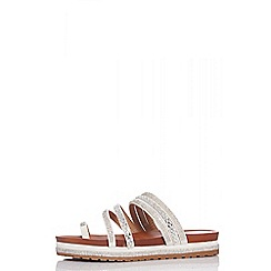 35507887dc990 Quiz - White diamante strap flat sandals
