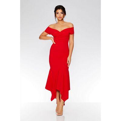 Shoptagr   Quiz Red Wrap Bardot Dip Hem Dress by Quiz