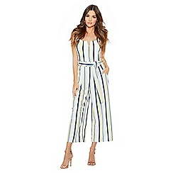 Quiz - Cream lemon and blue stripe culotte jumpsuit