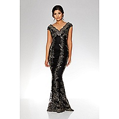 Quiz - Black and gold embroidered scallop fishtail maxi dress