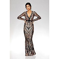 Quiz - Black and rose gold sequin embellished fishtail maxi dress