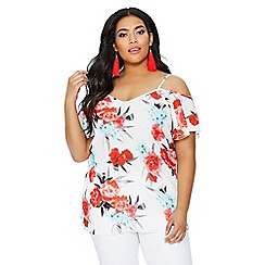 Quiz - Curve cream and red crepe floral cold shoulder top