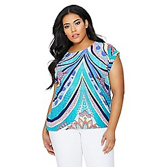 Quiz - Green and blue abstract print boxy top