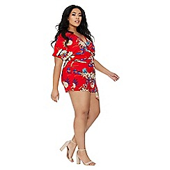 Quiz - Curve red and royal blue playsuit