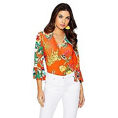 Quiz - Orange and yellow floral bodysuit