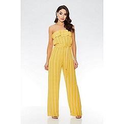 Quiz - Towie mustard stripe bandeau palazzo jumpsuit