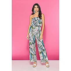Quiz - TOWIE cream green and pink tropical jumpsuit