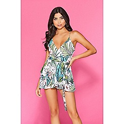 9b1ff7f0bcd Quiz - Towie cream green and pink tropical playsuit