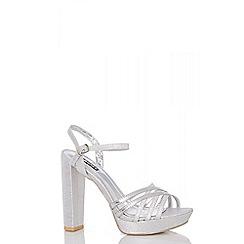 Quiz - Silver metallic strap heels