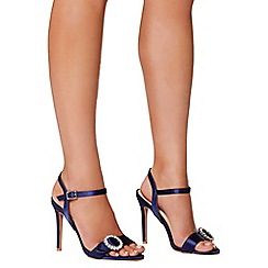 Quiz - Navy satin jewel buckle sandals