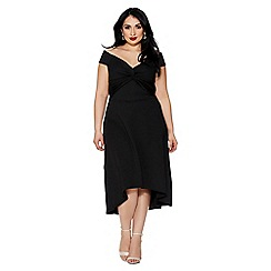Quiz - Curve black bardot knot front dress