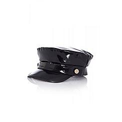 Quiz - Black vinyl baker boy hat