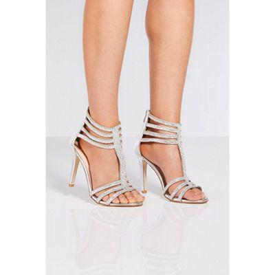 Quiz - Silver metallic diamante cage heel sandals
