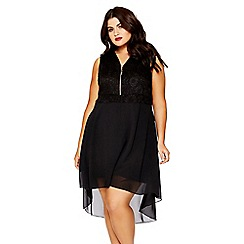 Quiz - Curve black lace v neck dip hem dress