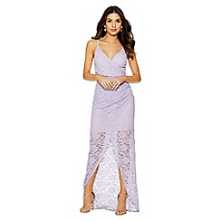Quiz - Lilac glitter wrap front maxi dress