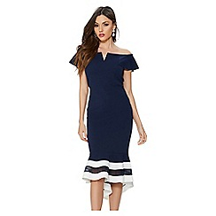 Quiz - Navy and cream bardot dip hem dress