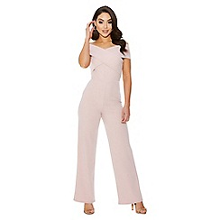 Quiz - Nude cross over wide leg jumpsuit