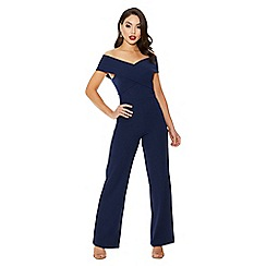 Quiz - Navy cross over wide leg jumpsuit
