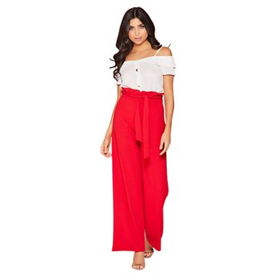 Quiz   Red Paper Bag Palazzo Trousers by Quiz