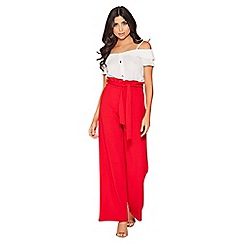 Quiz - Red paper bag palazzo trousers