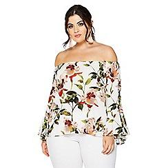Quiz - Curve floral print bardot top