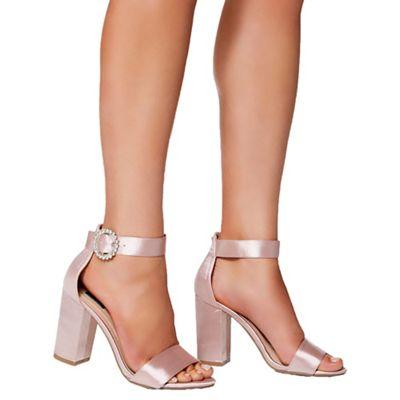 Quiz - Pink satin jewel buckle strap sandals