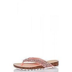 Quiz - Pink glitter strap flip flops