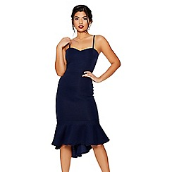 Quiz - Navy strappy dip hem midi dress