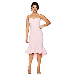 Quiz - Pale pink strappy dip hem midi dress