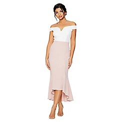 Quiz - Cream and pink bardot dip hem dress