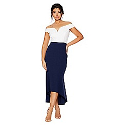 Quiz - Cream and navy bardot dip hem dress