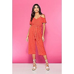 Quiz - TOWIE red and white polka dot cold shoulder jumpsuit