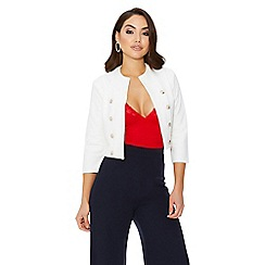 Quiz - Cream military button crop jacket